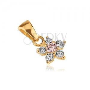 Zlatý přívěsek 585 - dvoubarevný zirkonový pětilupenový kvítek