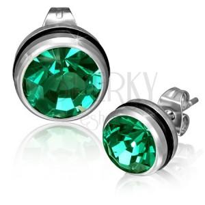 Kulaté ocelové náušnice se zeleným zirkonem