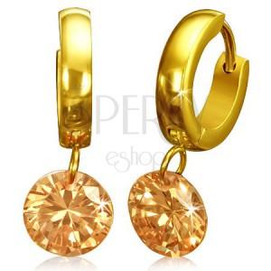 Kruhové náušnice z chirurgické oceli - zlaté, oranžový kamínek