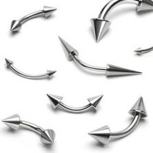 Piercing do obočí z oceli - dva lesklé špičaté hroty