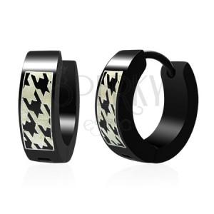 Kruhové ocelové náušnice, černé, potisk se vzorem ostnatého drátu