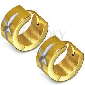 Náušnice z chirurgické oceli s rytinou hvězdy, kruhové, zlaté