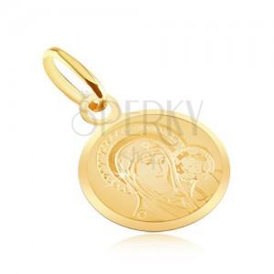 Zlatý plochý přívěsek 585 - kulatý medailon s Madonou a dítětem
