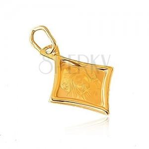 Zlatý přívěsek 585 - kosočtvercový plochý medailon, Panna Marie, dítě
