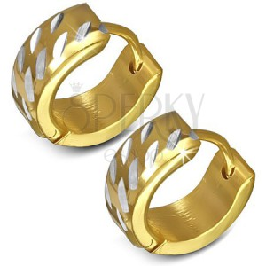 Náušnice z chirurgické oceli - kruhové, zlaté se stříbrnými zářezy