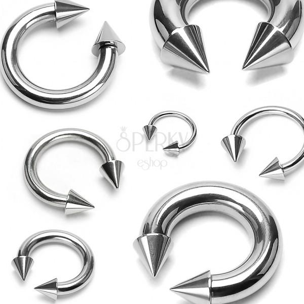 Piercing stříbrné barvy z chirurgické oceli - podkova ukončená hroty