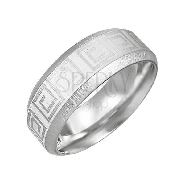 Ocelový prsten se vzorem řeckého klíče, zkosené hrany