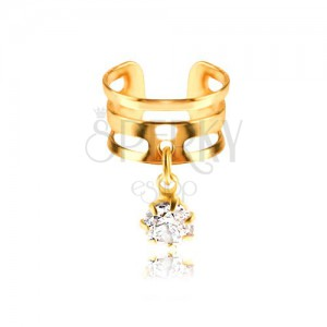 Falešný piercing do ucha z kovu - kroužek zlaté barvy, čirý zirkon