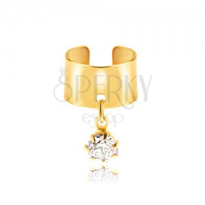 Falešný piercing do ucha z kovu - zlatý kroužek, čirý zirkon