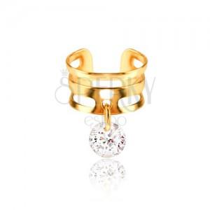 Kovový kroužek do chrupavky - pásy zlaté barvy, čirý zirkon