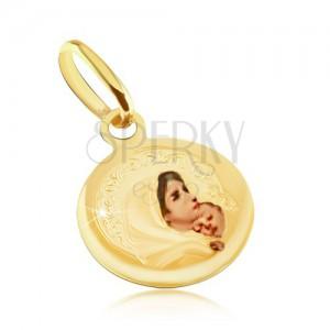 Zlatý přívěsek 585 - kulatý medailon, Panna Marie, průhledná glazura