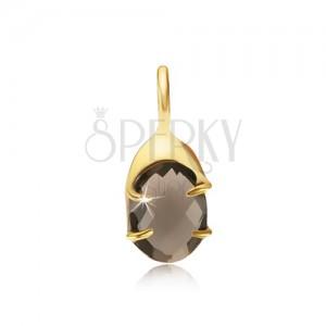 Přívěsek ze zlata 14K, oválná objímka, broušený kámen - záhněda
