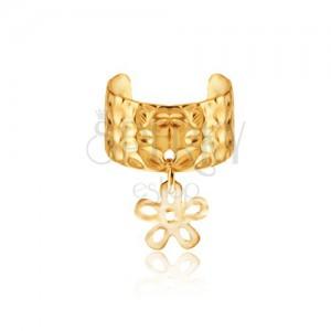 Kovový kroužek do ucha - zlatý odstín, obrys květu