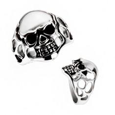 Masivní prsten z chirurgické oceli - lebka, výřezy BB3.17