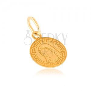 Zlatý přívěsek 585 - plochý medailon, kruhový, Panna Marie, řecký vzor