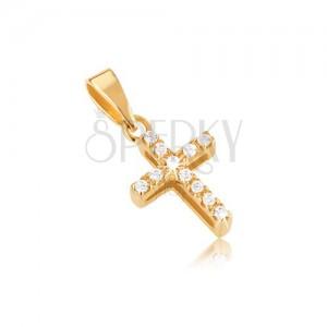 Přívěsek ze zlata 14K, latinský kříž, zirkony, výřezy