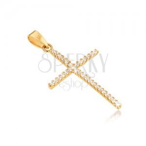 Přívěsek ze zlata 14K, tenký latinský kříž, kulaté čiré kamínky