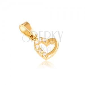 Přívěsek ve žlutém 14K zlatě - kontura souměrného srdce, zirkony