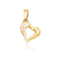 Zlatý 14K přívěsek - kontura nepravidelného srdce, zirkony GG08.26 Šperky eshop