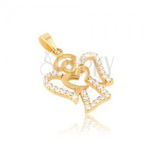 Přívěsek ze žlutého zlata 14K - kontura anděla, čiré kulaté zirkony