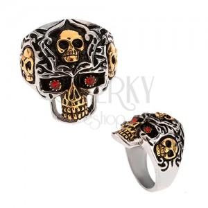 Prsten z oceli 316L, zlato-stříbrná lebka, červené kamínky