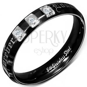 Prsten z chirurgické oceli, černý, lesklý, zirkony, Forever Love