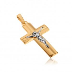 Přívěsek ve žlutém 14K zlatě - Kristus na kříži, široká zkosená ramena