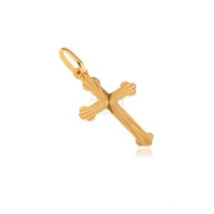 Zlatý přívěsek 585 - plochý jetelový kříž, blyštivé paprskovité rýhy