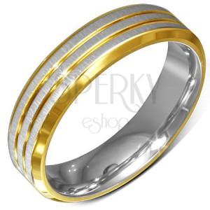 Prsten z chirurgické oceli, zlato-stříbrný, zkosené okraje