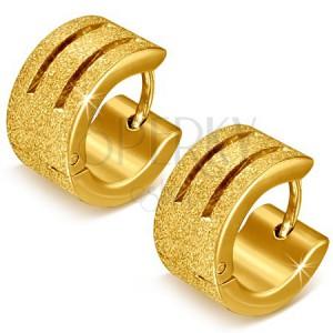 Zlaté pískované náušnice z oceli s rýhami - kruhové