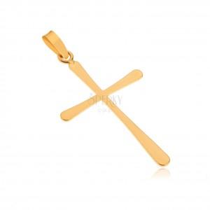 Přívěsek ze zlata 14K - lesklý plochý latinský kříž, hladký povrch