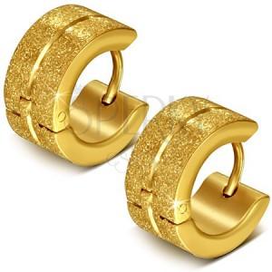 Kruhové ocelové náušnice, zlaté, pískované, středová rýha