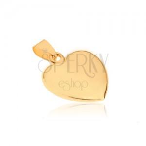 Blyštivý zlatý přívěsek 585 - mírně vypouklé pravidelné srdíčko