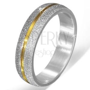 Pískovaná stříbrná obroučka z oceli, zlatý zářez