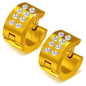 Lesklé kruhové ocelové náušnice zlaté barvy, čiré kamínky