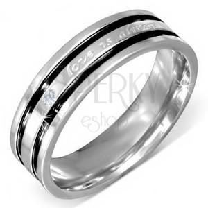 Ocelový prsten s vyznáním lásky, čirý zirkon, černé rýhy