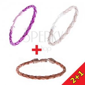 Set náramků 2+1 zdarma - oválné pletence z kůže, různé barvy