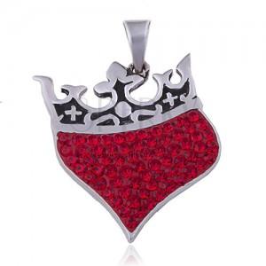 Přívěsek ze stříbra 925 - srdce s královskou korunou, červené zirkony
