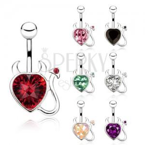 Ocelový piercing do bříška, zirkonové srdce, čertík - různé barvy