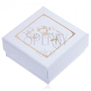 Dárková krabička bílé barvy, zlatý motiv křtu
