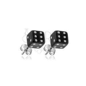 Stříbrné puzetové náušnice 925 - černé hrací kostky