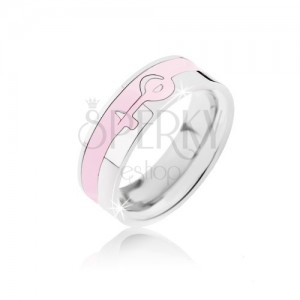 Stříbrno-růžový prsten z oceli - ženský symbol