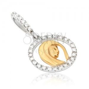 Zlatý přívěsek 585 - obrys medailonu se zirkony, hlava ženy, dvoubarevný