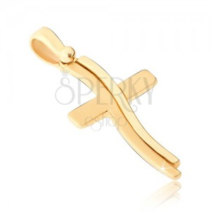 Přívěsek ve žlutém 14K zlatě - leskle-matný latinský kříž, zvlněná linie