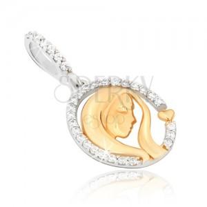 Zlatý 14K přívěsek - dvoubarevný, oválná kontura, hlava ženy, srdce