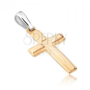 Přívěsek ze zlata 14K - dvojitý latinský kříž, vystouplá lesklá ramena