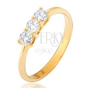 Prsten ze žlutého 14K zlata - tři kulaté čiré zirkony, lesklý, hladký