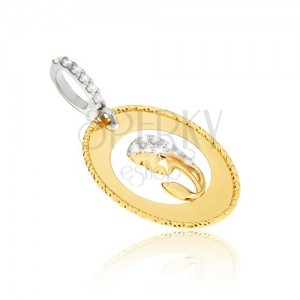 Přívěsek ve žlutém 14K zlatě - oválný medailon, výřez, hlava ženy, zirkony
