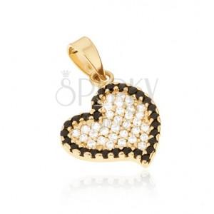 Zlatý 14K přívěsek - nepravidelné srdce, černé a čiré kulaté kamínky