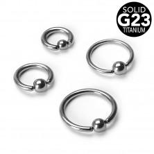 Titanový piercing - kroužek s kuličkou, tloušťka 1,6 mm